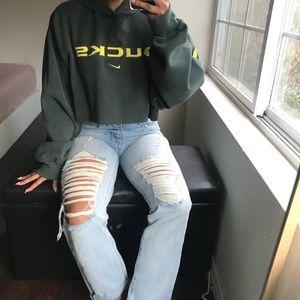 Green Oregon Ducks crop hoodie
